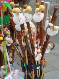 Walking sticks from pilgrims