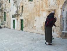 Ethiopian monk sweeping
