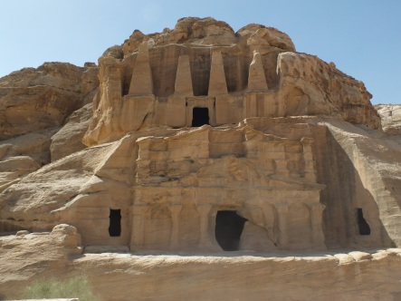 Distinctive architecture in Petra with Egyptian, Nabataean and Hellenic influenes